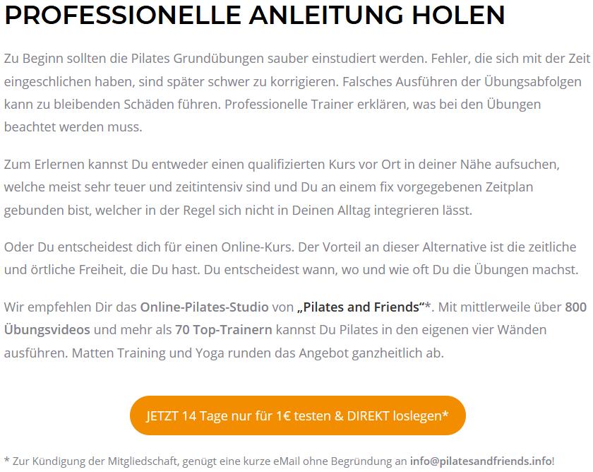 Professionelle Pilates-Anleitungen gibt es auf pilates-uebungen.net